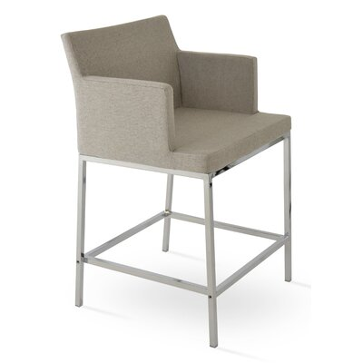 Soho 24.5 Bar Stool Upholstery: Cotton-Gray Brick
