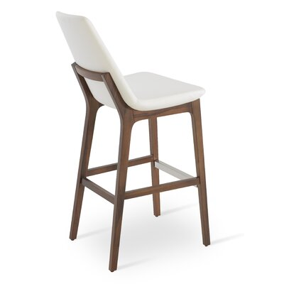 Eiffel 29 Bar Stool Leg Color: Walnut, Upholstery: Leatherette-White