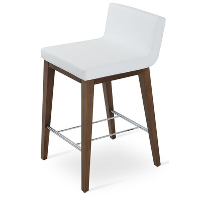 Dallas Wood 24 Bar Stool Upholstery: Leatherette-White
