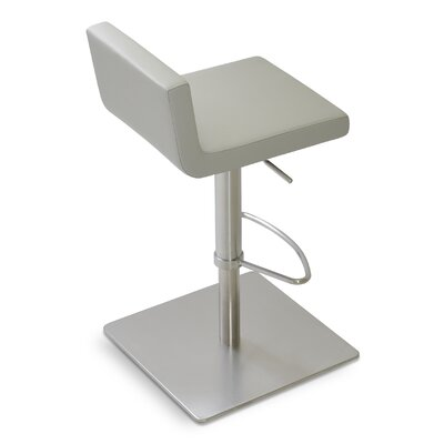 Dallas Adjustable Height Swivel Bar Stool Upholstery: Leatherette - Light gray (050) SS Polished