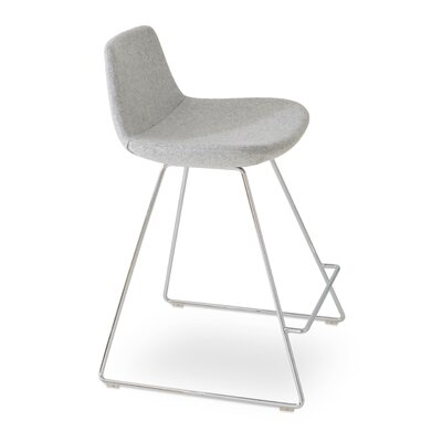 Pera Wool 24 Bar Stool Upholstery: Silver