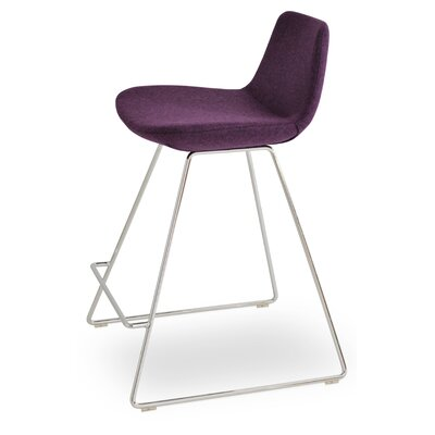 Pera Wool 29 Bar Stool Upholstery: Deep Maroon