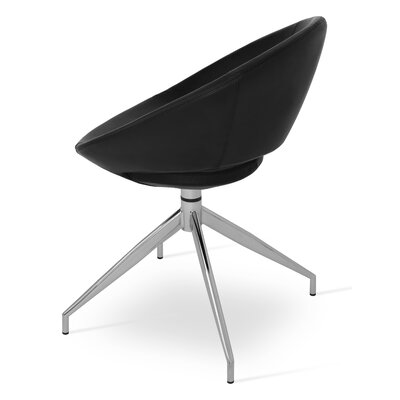 Crescent Spider Swivel Side Chair in PPM Leatherette - Black
