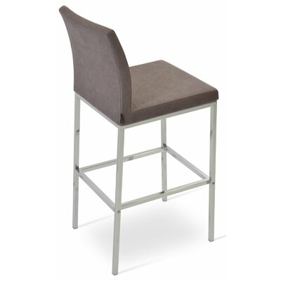 Aria 24 Bar Stool Upholstery: Genuine Leather-Black