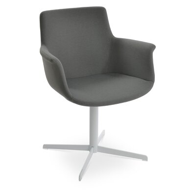 Bottega 4 Star Swivel Dining Chair Upholstery Color: Light Gray, Leg Color: Chrome
