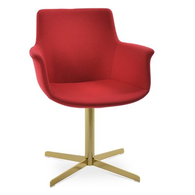 Bottega 4 Star Swivel Dining Chair Upholstery Color: Deep Maroon, Leg Color: Gold