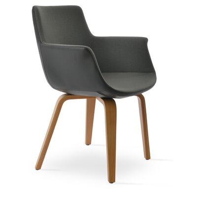 Bottega Playwood Upholstery Color: Black, Leg Color: American Walnut
