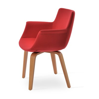 Bottega Playwood Upholstery Color: Red, Leg Color: Natural