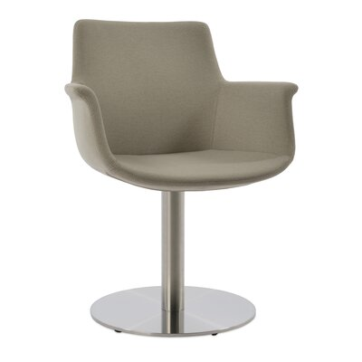 Bottega Round Upholstery Color: Silver, Leg Color: Polished