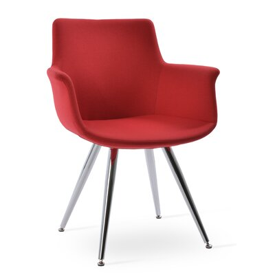 Bottega Star Upholstery Color: Red, Leg Color: Stainless steel