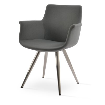 Bottega Star Upholstery Color: Gray, Leg Color: Stainless steel