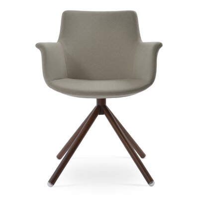Bottega Stick Upholstery Color: Light Gray, Leg Color: Walnut