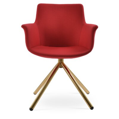 Bottega Stick Upholstery Color: Red, Leg Color: Gold
