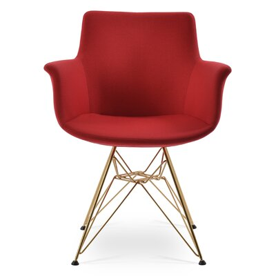Bottega Tower Upholstery Color: Red, Leg Color: Gold