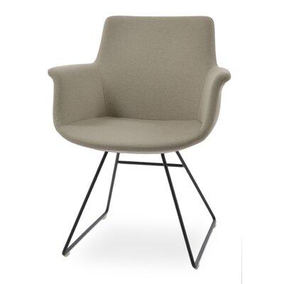 Bottega Wire Upholstery Color: Light Gray, Leg Color: Black