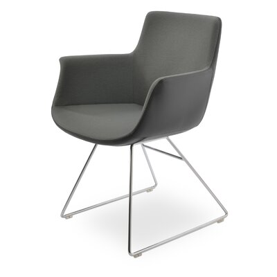 Bottega Wire Upholstery Color: Dark Gray, Leg Color: Chrome