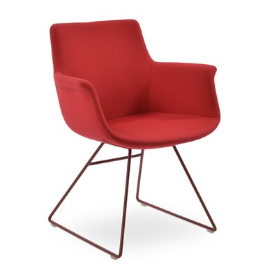 Bottega Wire Upholstery Color: Red, Leg Color: Red