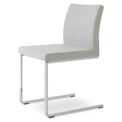 Aria Flat Side Chair Upholstery: Camira Wool Silver