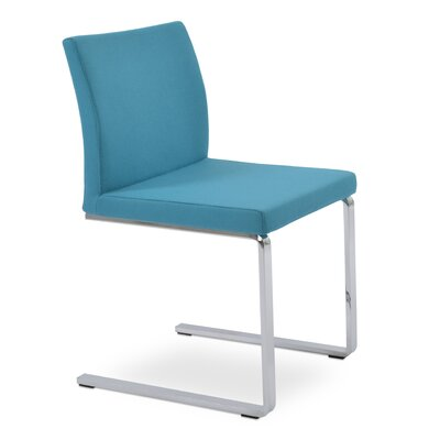 Aria Flat Side Chair Upholstery: Camira Wool Turquoise