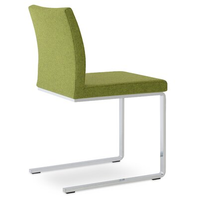Aria Flat Side Chair Upholstery: Camira Wool Forest Green