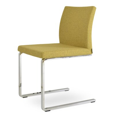 Aria Flat Side Chair Upholstery: Camira Wool Amber