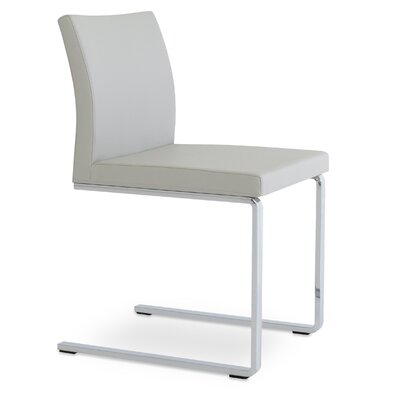 Aria Side Chair Upholstery: Light Gray Leatherette