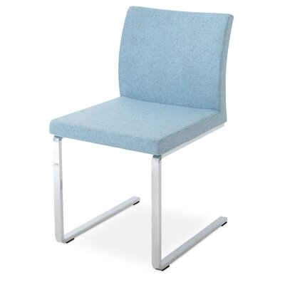 Aria Flat Side Chair Upholstery: Camira Wool Smoke Blue