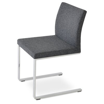 Aria Flat Side Chair Upholstery: Camira Wool Dark Gray