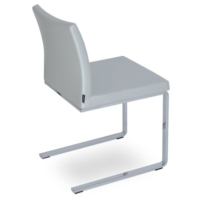 Aria Flat Side Chair Upholstery: Silver