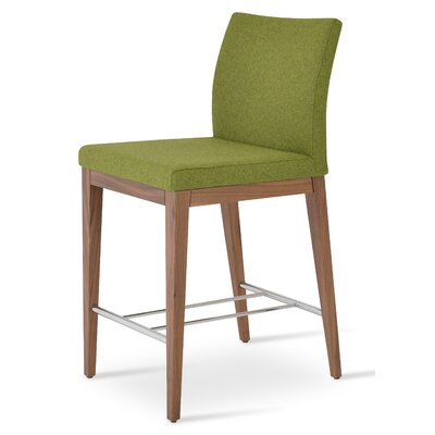 Aria Wood Counter Upholstery: Camira Wool-Forest Green, Color: Walnut