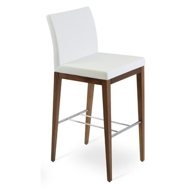 Aria Wood Counter Upholstery: Leatherette-White, Color: Wenge