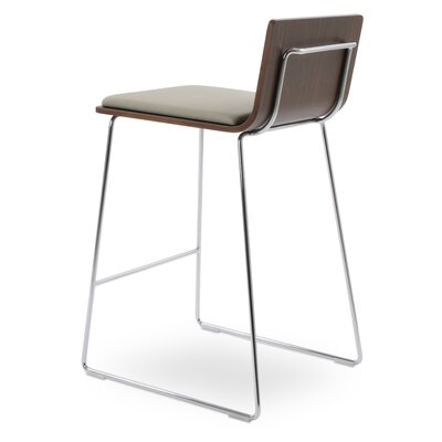 Corona Counter Wire Stools Upholstery: Dark Gray, Color: Walnut