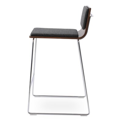 Corona Counter Wire Stools Upholstery: Black, Color: Natural Ash Wood