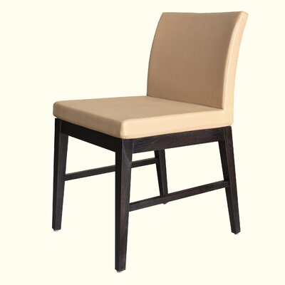 No credit financing Aria Side Chair Finish: Walnut, Uph...