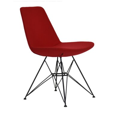 Eiffel Tower Genuine Leather Upholstered Dining Chair Frame Color: Black, Upholstery Color: Red
