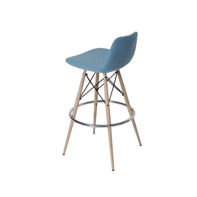 sohoConcept Pera MW Bar Stool - Tubes/Wires Finish: Natural/Black Color: Sky Blue Upholstery : Leatherette