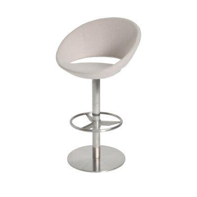 Crescent 24 Swivel Bar Stool Upholstery: Leatherette-White