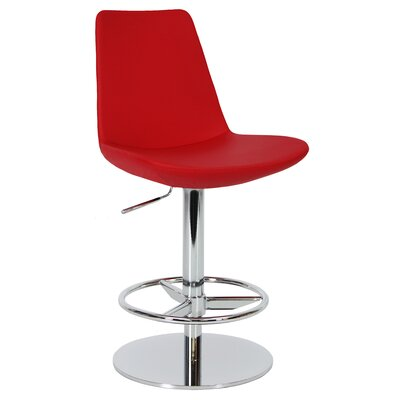 Eiffel Adjustable Height Swivel Bar Stool Upholstery: Red, Finish: Chrome