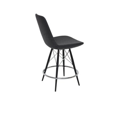 Eiffel 24 Bar Stool Finish: Black Tubes / Chrome Wires, Upholstery: Dark Gray Wool