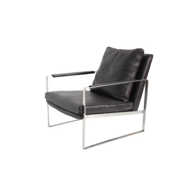 Zara Gold Armchair Upholstery: Brown Leather, Frame Finish: Stainless Steel