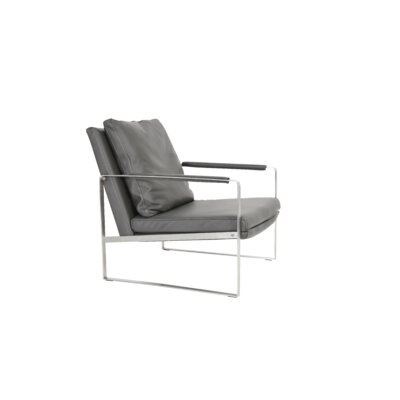 Zara Gold Armchair Upholstery: Grey Leather, Frame Finish: Stainless Steel