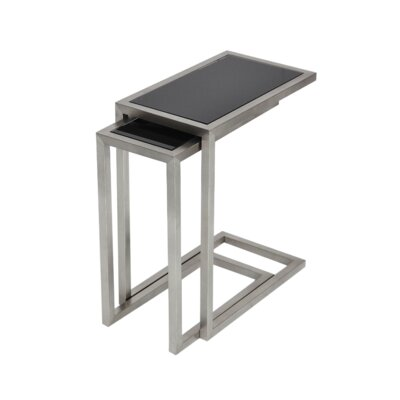 Alfa Nesting Tables Color: Black Glass