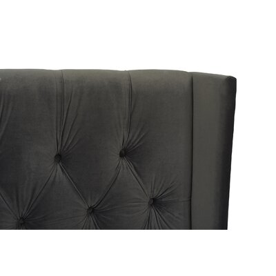 David Tufted Wingback Upholstered Panel Bed Size: King, Color: Dark Charcoal Grey