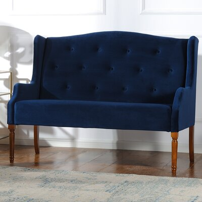 Izzy Tufted Settee Upholstery: Navy Blue