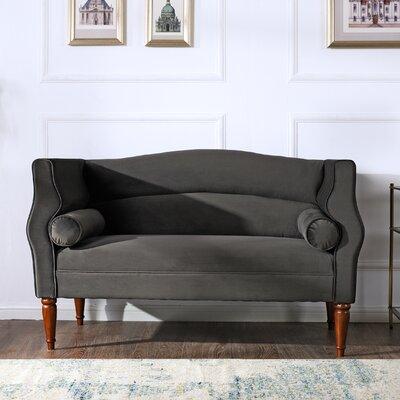 Joanna Camelback Loveseat Upholstery: Dark Charcoal Grey