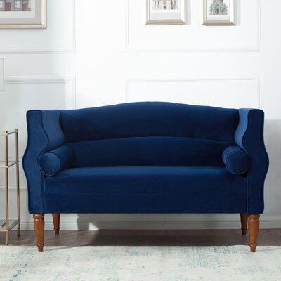 Joanna Camelback Loveseat Upholstery: Navy Blue