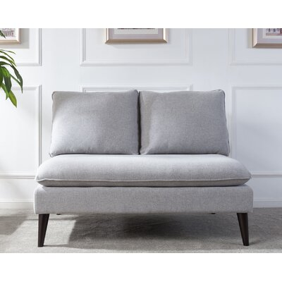 Amesbury Upholstered Settee Upholstery: Light Gray