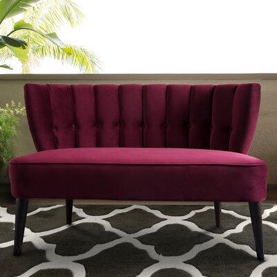 Kalea Tufted Settee Upholstery: Burgundy