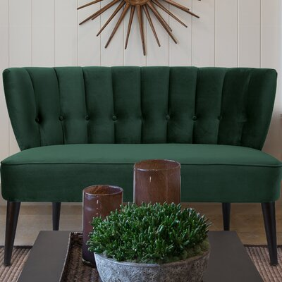 Saito Tufted Settee Upholstery: Hunter Green
