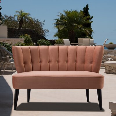 Kalea Tufted Settee Upholstery: Orange